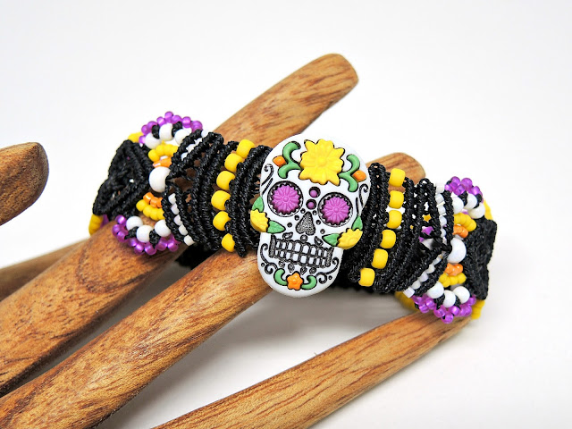 Day of the Dead Sugar Skull micro macrame bracelet from Knot Just Macrame.