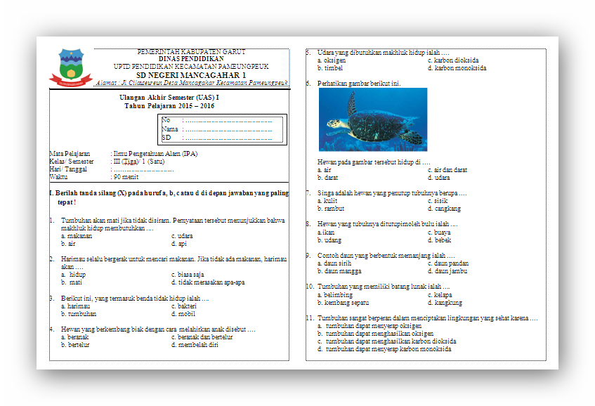 Soal Uas Ipa Ktsp Kelas 3 Semester 1 Revisi Id
