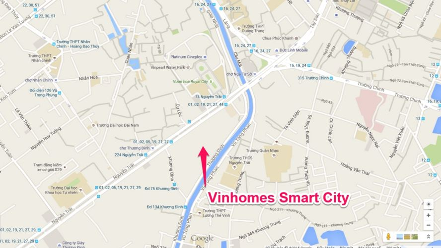 Vị trí dự án chung cư Vinhomes Smart City Nguyễn Trãi