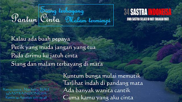 Kumpulan pantun cinta terbaru SIANG TERBAYANG MALAM TERMIMPI | 34 Sastra Indonesia