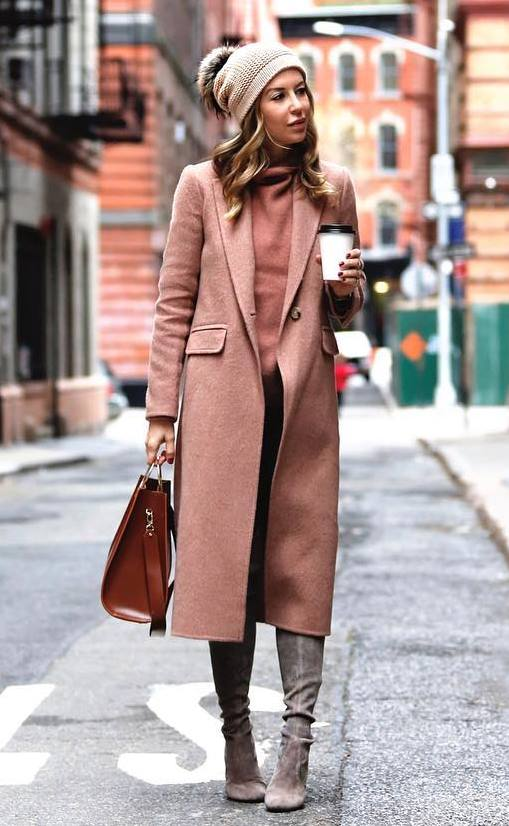 elegant winter outfit / over knee boots + coat + bag + hat + sweater