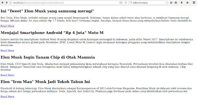 tampilan halaman utama untuk cara membuat readmore pada php dan mysql
