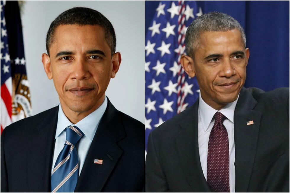 15 Before And After Photos Of US Presidents Depict How Their Job Transformed Them - Barack Obama (2008-2017)