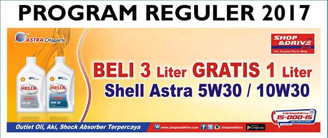 Promo awal tahun Shop&Drive buy 3 get 1 shell oil