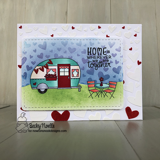 Home is wherever we are together by Becky by Cozy Campers, Tumbling Hearts, Frames & Flags by Newton's Nook Designs; #newtonsnook