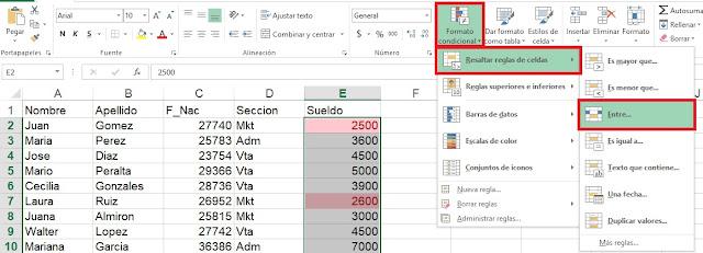 Uso de formato condicional en Microsoft Excel