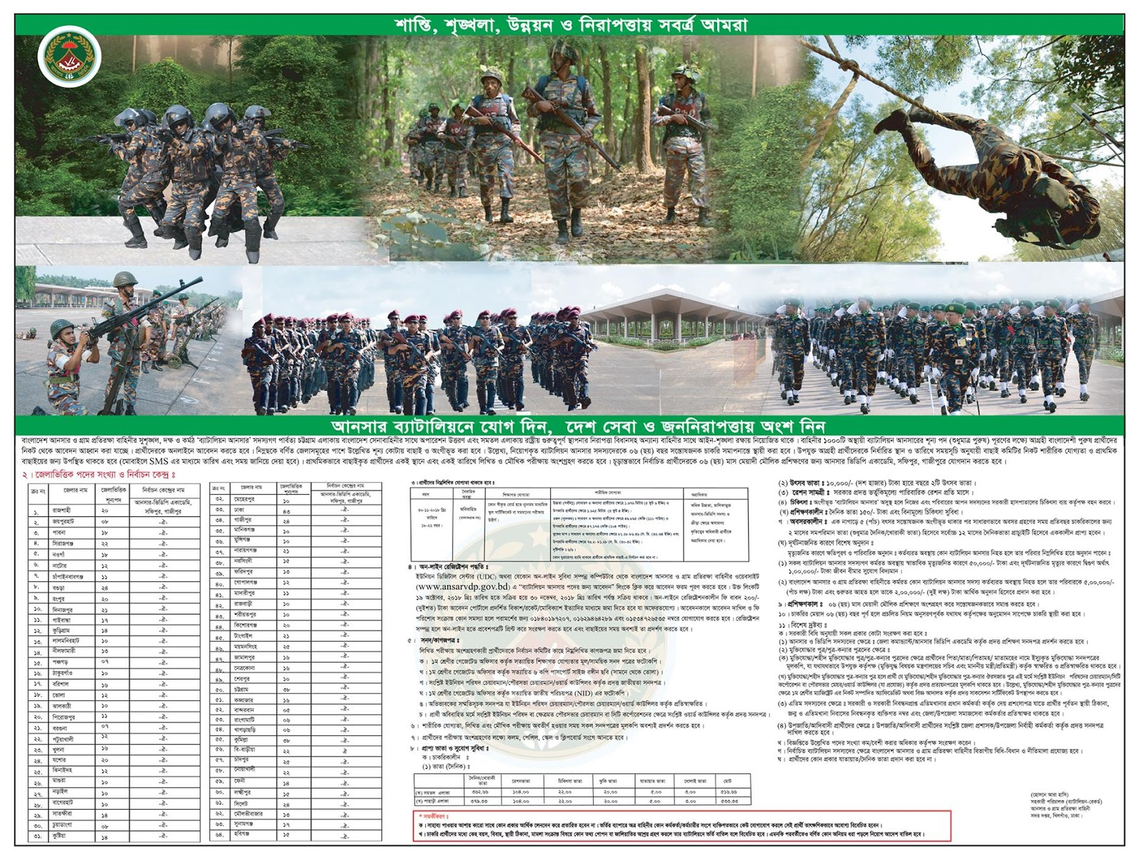 Bangladesh Ansar VDP Recruitment General Ansar Basic Training Circular 2018-2019
