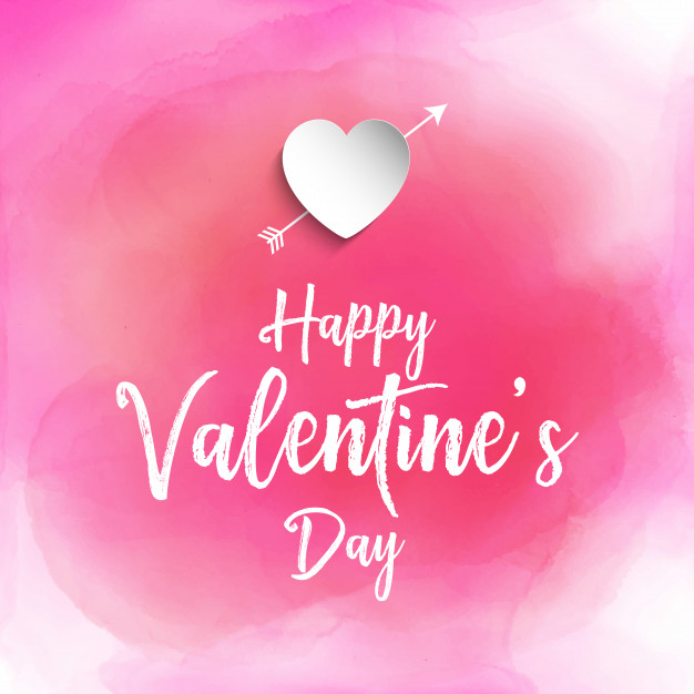 Valentine's day background with watercolour texture Free Vector
