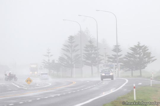 Misty rain over SH2, Awatoto, Napier, weather. photograph