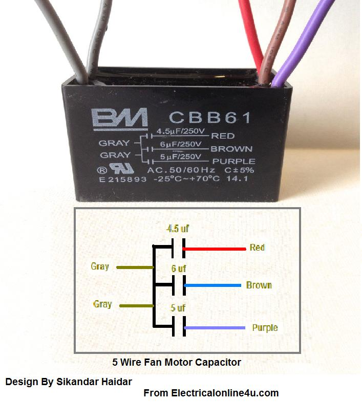 5 Wire Ceiling Fan Capacitor Wiring Diagram - Electrical Online 4u