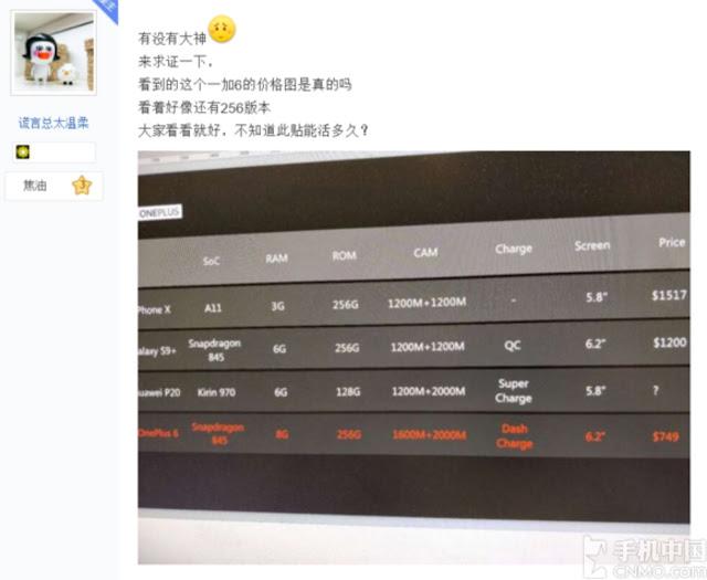 skor antutu benchmark OnePlus 6