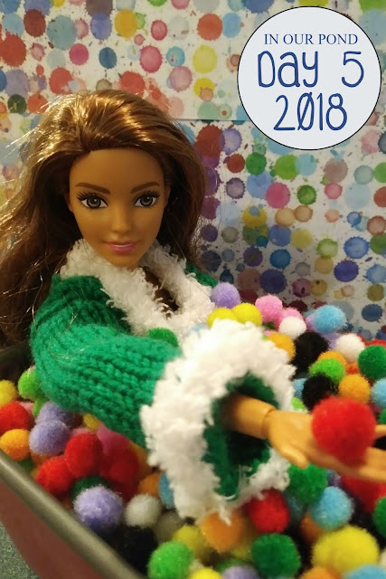 Elf on the Shelf in a Ball Pit // In Our Pond // pompoms // barbie fashions // barbie crafts // diy