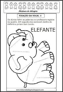 Treino ortográfico letra E de elefante