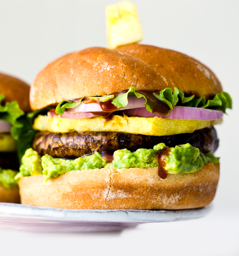 Pineapple Teriyaki Portobello Burgers with Avocado