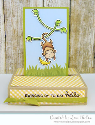 Swinging By to Say Hello card-designed by Lori Tecler/Inking Aloud-stamps and dies from Lawn Fawn