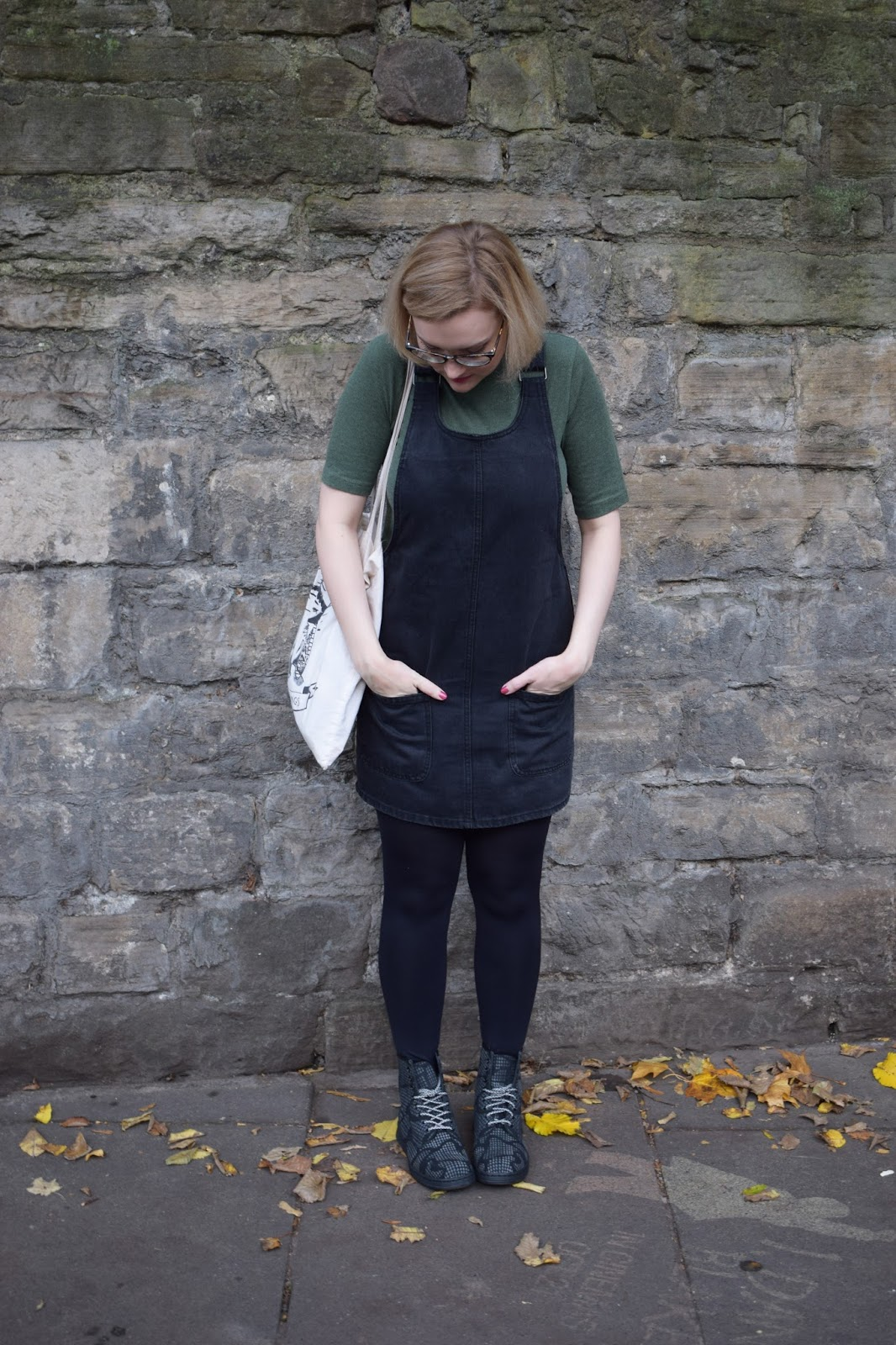 Dr Martens Newton reflective boots, Scottish winter style, Halloween collection, denim pinafore trend, Scottish style blogger, quirky fashion style, UK fashion trends, dressing for cold weather in Scotland,