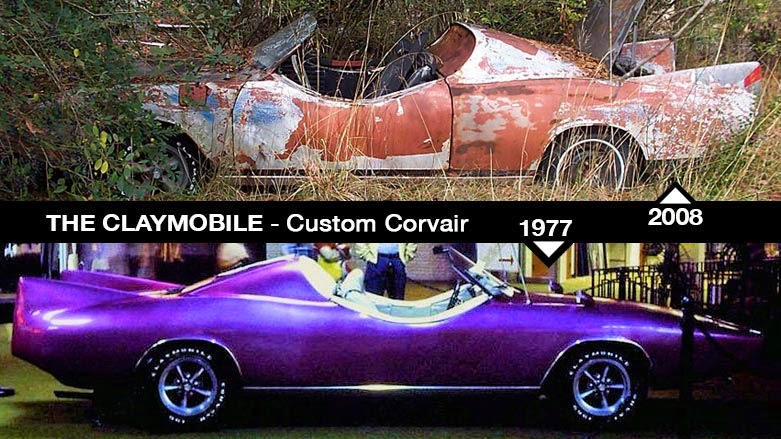 Claymobile in 2008, in a state of disrepair, and at a 1977 Eastwood Mall car show with Claymobile in purple metallic paint.