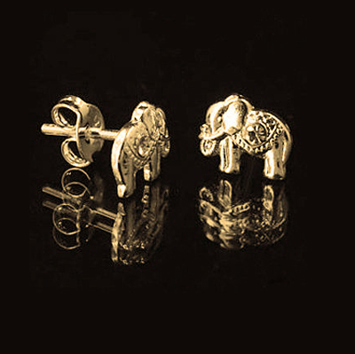 Silver Earrings Studs, Elephant Earrings