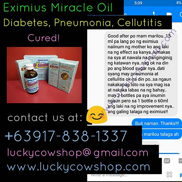 eximius miracle oil diabetes cellulitis pnuemonia