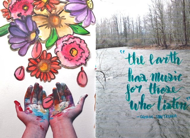 Flowers Falling | An art journal page by @punkprojects Katie Smith