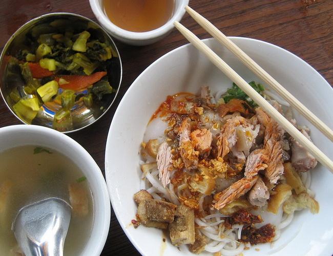 Xvlor Meeshay is pork noodle dish by Shan people in Myanmar