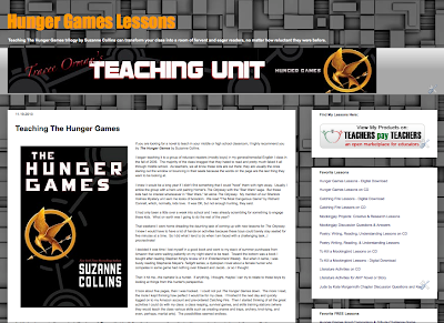 Teaching The Hunger Games http://www.hungergameslessons.com/2010/11/teaching-hunger-games.html