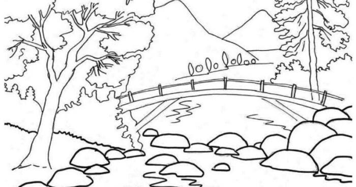 Sketsa Gambar Pemandangan Alam Pegunungan Kreasi Dunia Anak Cerdas