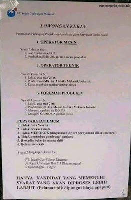 Loker PT Indah Cup Sukses Makmur