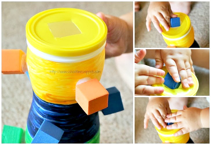 fine motor activity for toddlers - color sorting tower