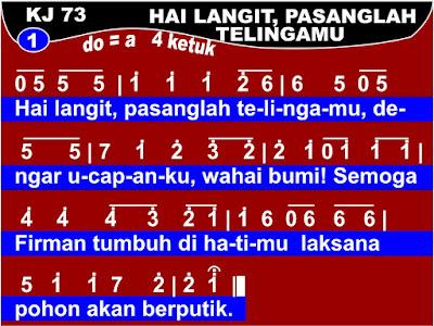 Lirik dan Not Kidung Jemaat 73 Hai Langit, Pasanglah Telingamu