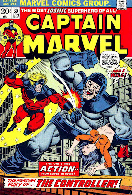 Captain Marvel #30 marvel comic 1970s bronze age comic cover art by Jim Starlin