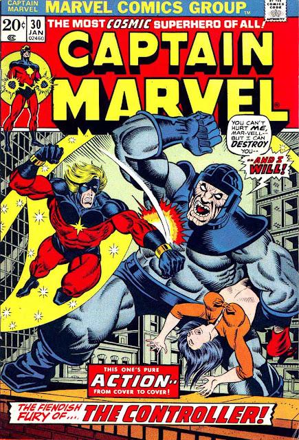 Captain Marvel #30 marvel comic 1970s bronze age comic cover art by Jim Starlin