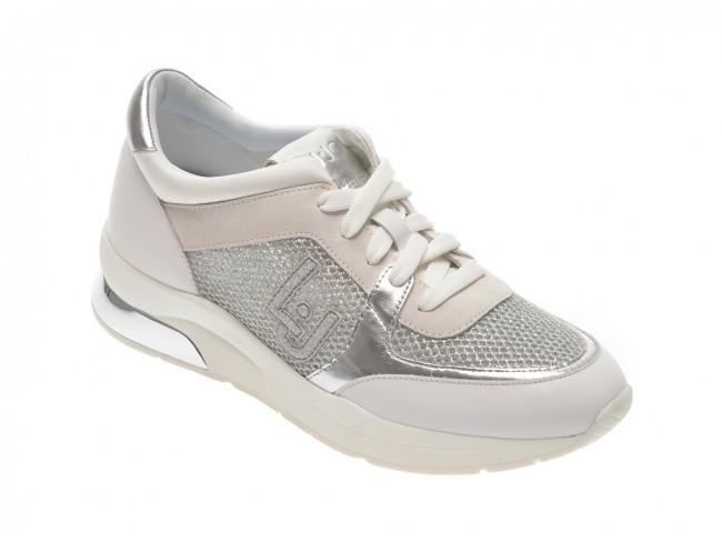 Pantofi sport LIU JO albi cu argintiu  din material textil si piele eco