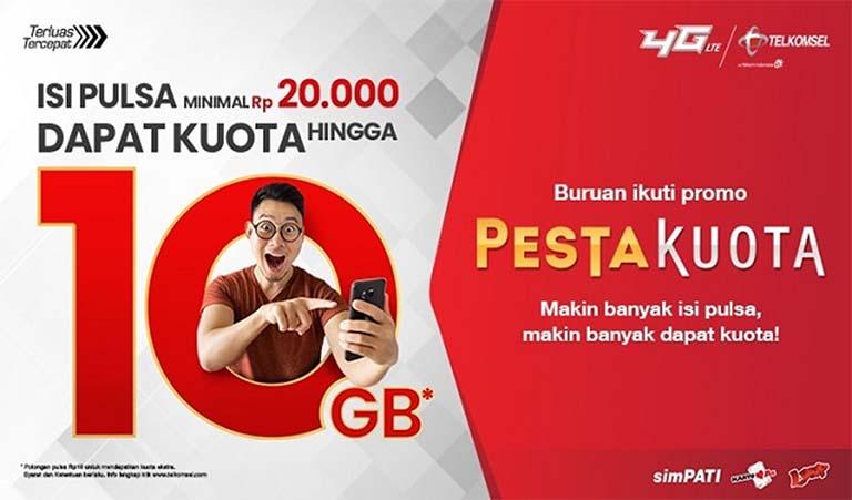 Dengan Bayar Rp. 10 Dapat Kuota Telkomsel Hingga 10 GB?