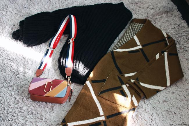 ファッションブログ 日本人,NewIn_Zaful_スティッチ カラーブロック クロスボディバッグ、 アーガイル柄ロングカーディガン、ベルスリーブチャンキーニットセーター