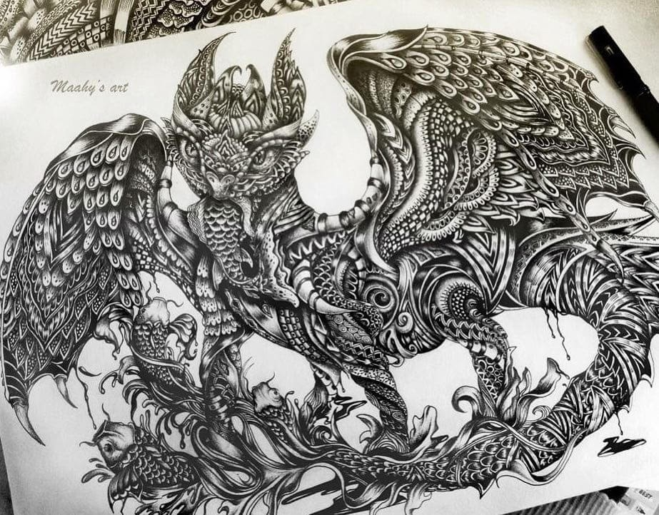 03-Toothless-from-how-to-train-your-dragon-Maahy-Drawings-Given-the-Zentangle-Treatment-www-designstack-co