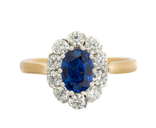 This ring is very similar to the blue sapphire engagement ring owned first by Princess Diana and now the Duchess of Cambridge