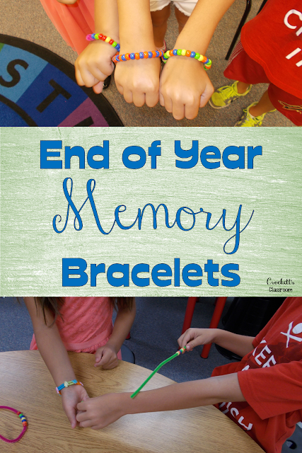 End the year with these fun pony bead bracelets.  Students share a memory with each beak.  Great keepsake for the year.