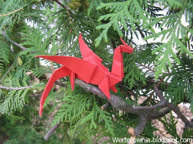 smok origami czerwony