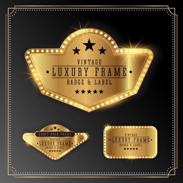 Golden Luxury Frame with Bulb Light Border. Golden Shine Label Banner Design Free Vector