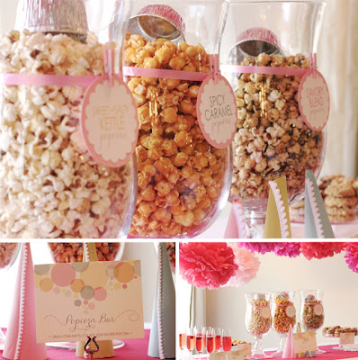 pink popcorn wedding buffet