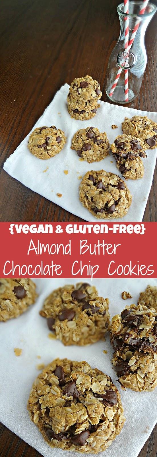 {Vegan & Gluten-free} Almond Butter Chocolate Chip Cookies