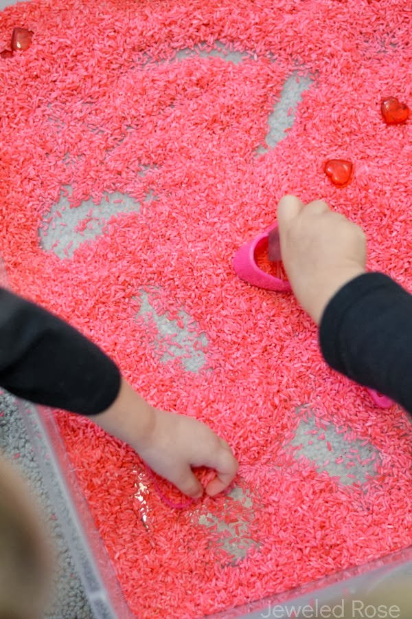 Rose scented rice for glorious valentines sensory play