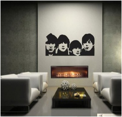 The Beatles living room. Vinyls decoration for livings