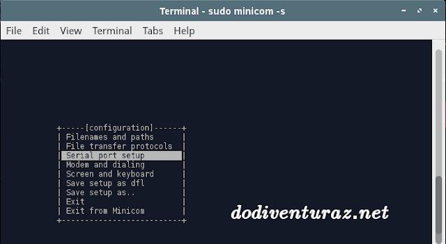 Cara setting minicom -s di linux