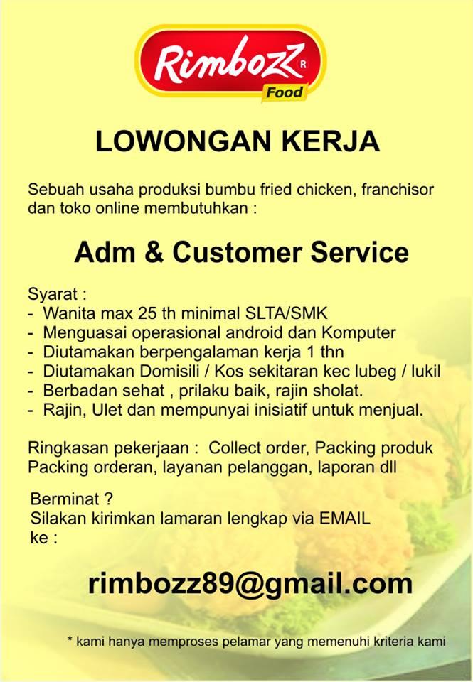 Lowongan Kerja di Padang – Rimbozz Food – Admin & CS