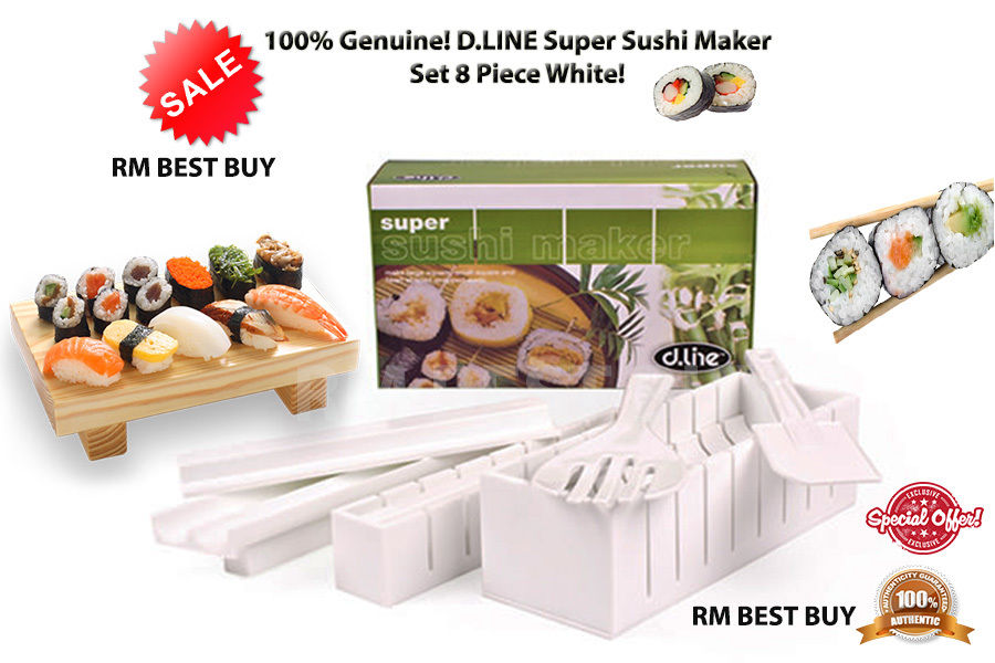 RRP $34.95! 100/% Genuine D.LINE Super Sushi Maker Set 8 Piece White