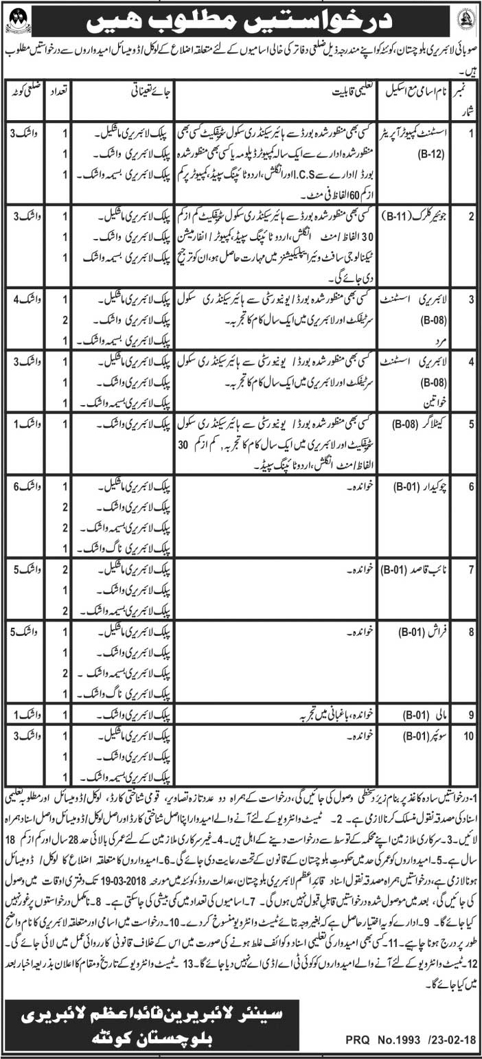Jobs In Provincial Library Quetta 2018 for 34 Posts