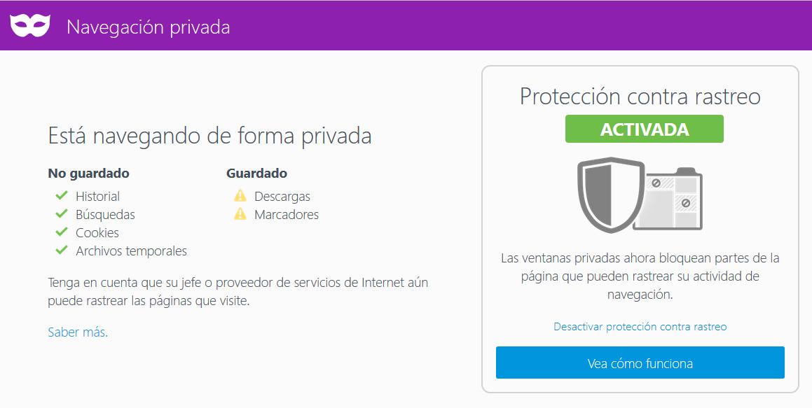 Mozilla Firefox Navegación Privada