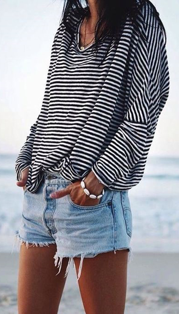 summer striped top + denim shorts